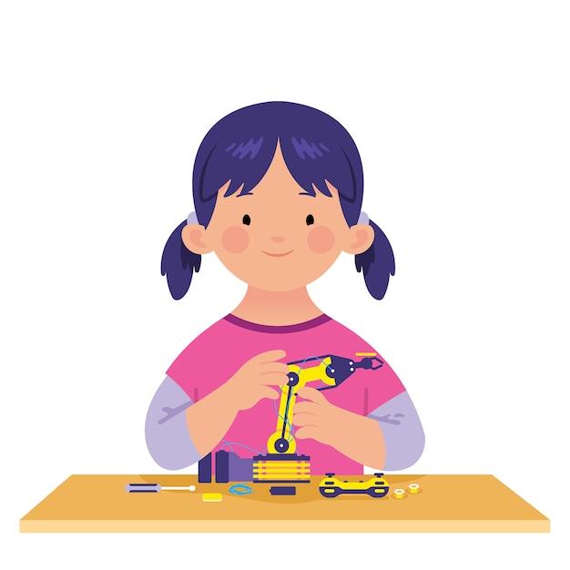 Petite fille apprend à faire de la technologie robotique Vecteur Premium