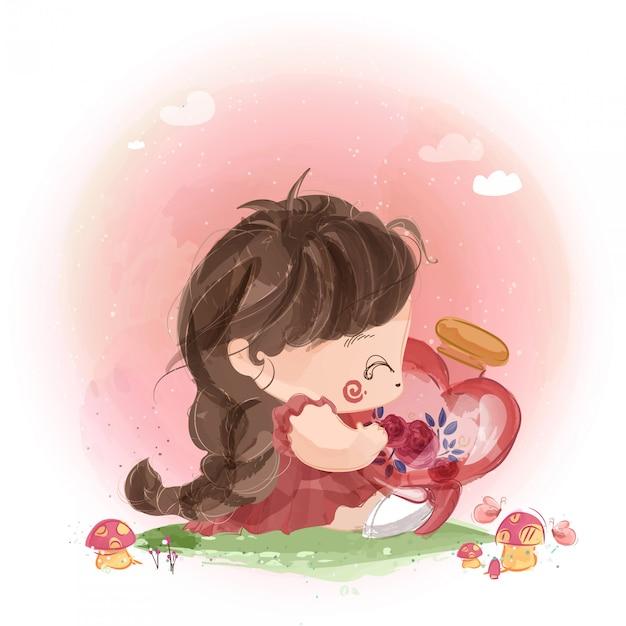 Une Petite Fille Coquine Avec Une Bouteille En Verre En Forme De Coeur Vecteur Premium