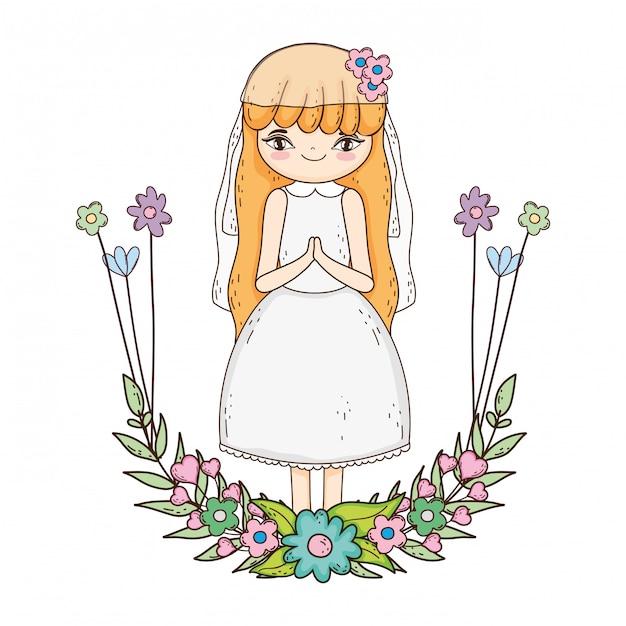 Petite fille avec une couronne de fleurs de communion Vecteur Premium