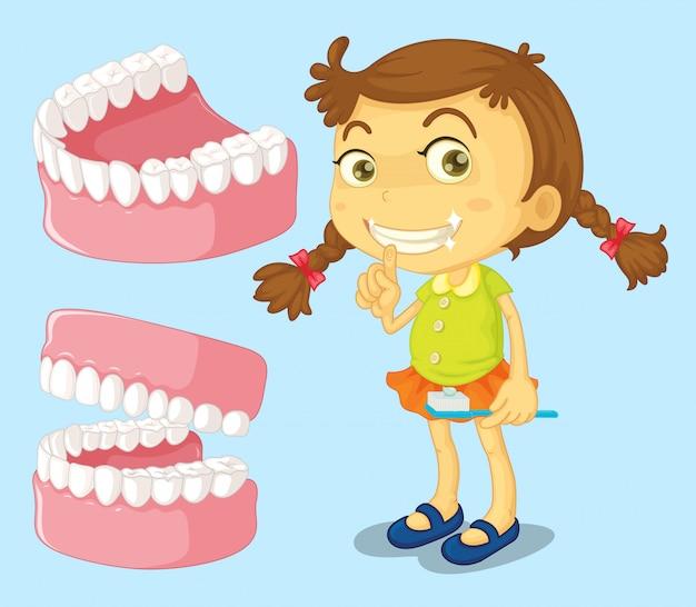 Petite fille avec des dents propres Vecteur gratuit