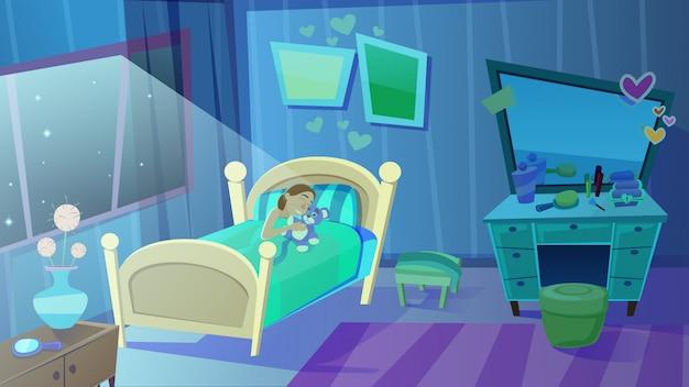 Petite fille dormant dans son lit, étreignant un ours en peluche Vecteur Premium