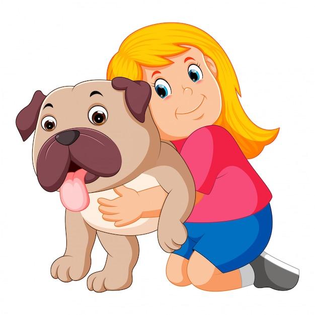 Petite fille embrasse un chien Vecteur Premium