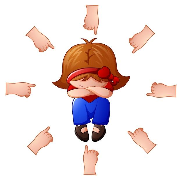 Petite fille étant accusée avec les doigts pointant sur elle Vecteur Premium