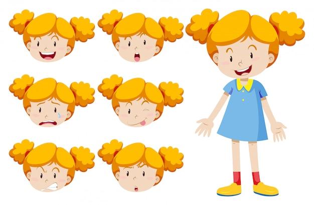 Petite Fille Avec Des Expressions Faciales Vecteur gratuit
