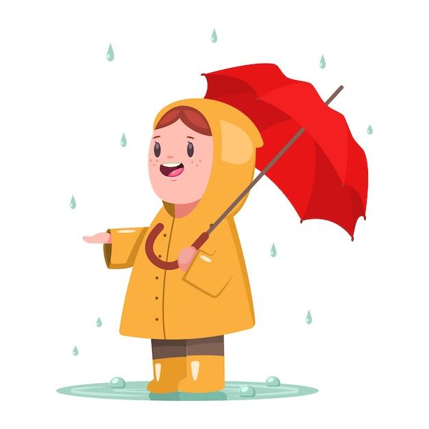 Petite fille en imperméable jaune avec parapluie Vecteur Premium