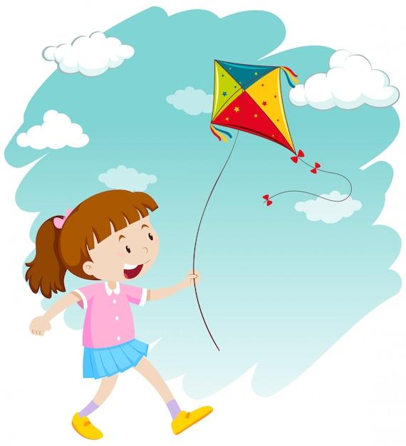 Petite fille jouant au cerf-volant Vecteur gratuit