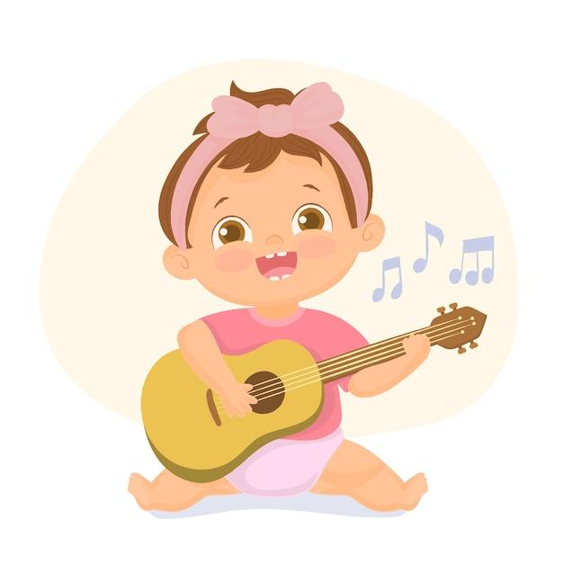 Petite Fille Jouant De La Guitare Illustration Vecteur Premium
