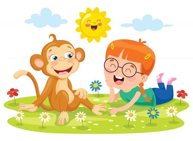 Petite fille jouant avec un singe drôle Vecteur Premium