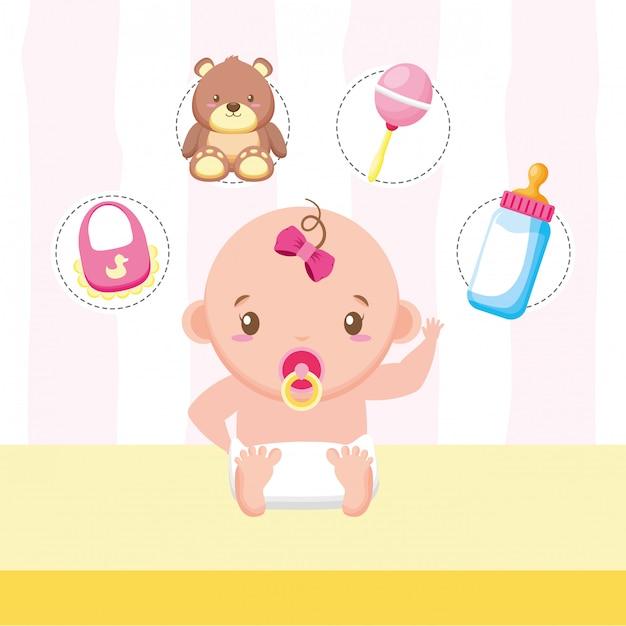Petite fille avec des jouets et des accessoires Vecteur gratuit
