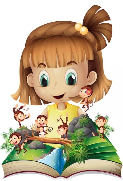 Petite fille et livre de singes dans la jungle Vecteur Premium