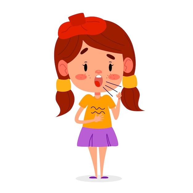 Petite Fille Malade Tousse. L'enfant A Des Symptômes De Toux, Illustration Vecteur Premium