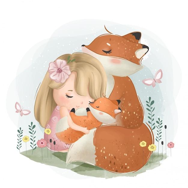 Une petite fille mignonne avec les renards Vecteur Premium