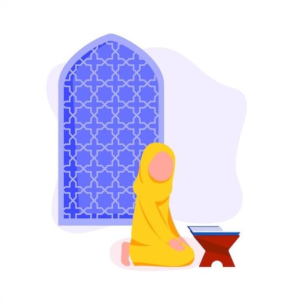 Petite fille musulmane réciter coran Vecteur Premium