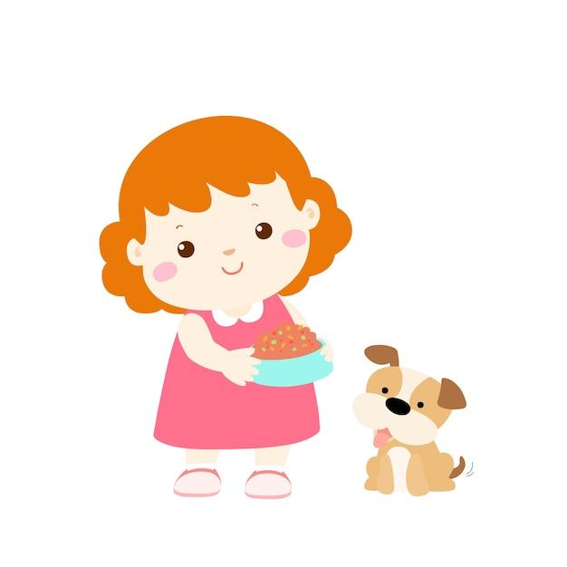 Petite Fille Nourrir Chien Dessin Animé Télécharger Des