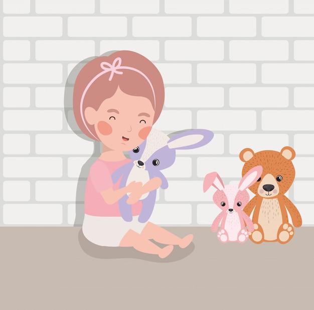Petite fille avec personnage de jouets en peluche Vecteur gratuit