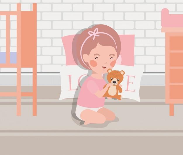 Petite fille avec un personnage en peluche Vecteur gratuit