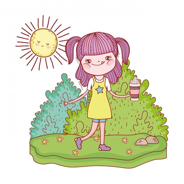 Petite fille avec des personnages de soleil kawaii Vecteur Premium