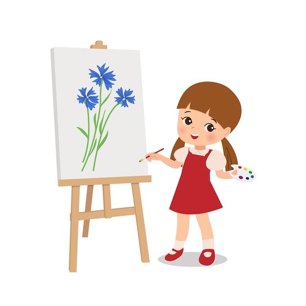 Petite Fille Talentueuse Dessin Fleur Sur Toile Avec Pinceau Clipart Activite Ecole De Peinture Personnage De Dessin Anime Vecteur De Style Plat Isole Vecteur Premium