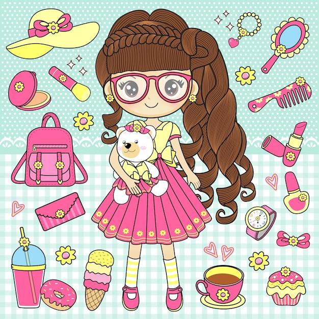Petite fille tenant des ours en peluche avec des accessoires mignons Vecteur Premium