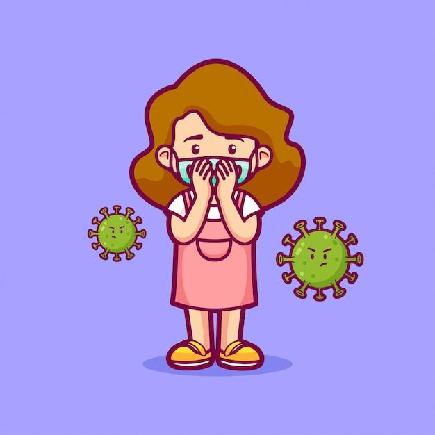 Petite Fille Toussant Et Portant Un Masque De Sécurité Entouré De Virus Vecteur Premium