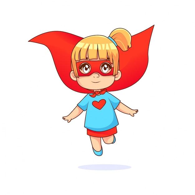 Petite fille volant super-héros, t-shirt bleu et cape rouge avec fond blanc Vecteur Premium