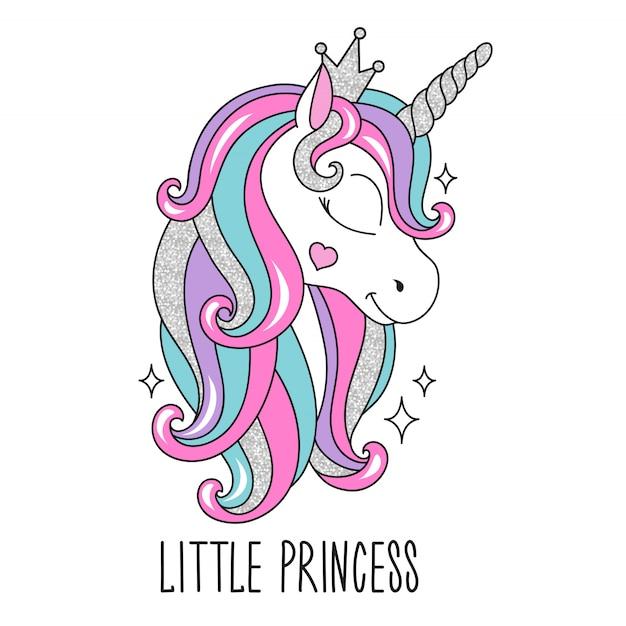 Petite Illustration De Licorne Princesse Dans Un Style Moderne Vecteur Premium