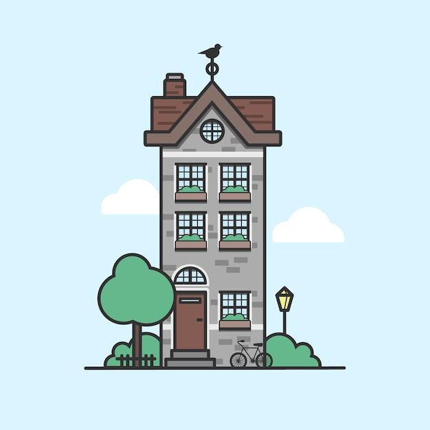 Petite maison, bâtiment suburbain d'un étage avec pelouse, arbres et vélo Vecteur Premium