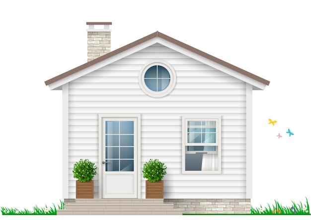 Une petite maison blanche Vecteur Premium