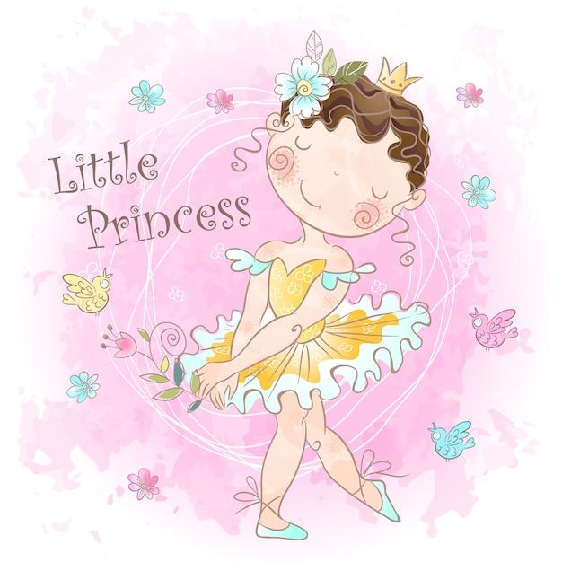 Petite princesse douce. fille avec des oiseaux. Vecteur Premium
