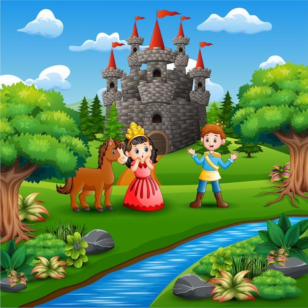Petite princesse et prince dans le parc Vecteur Premium