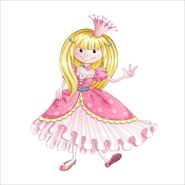 Petite princesse en robe rose Vecteur Premium