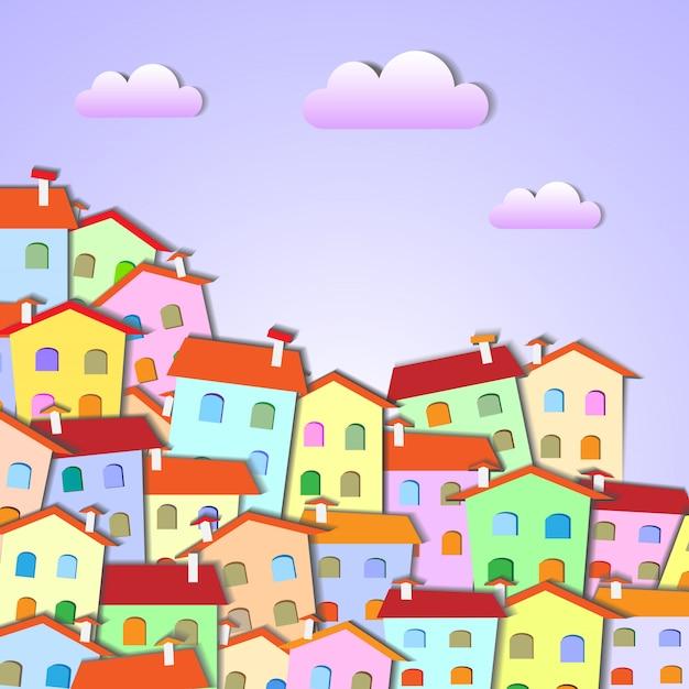 Petite ville colorée Vecteur Premium