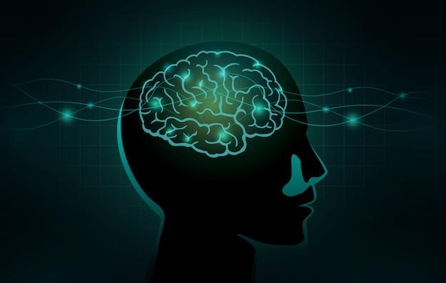 De petites cellules et une ligne d'onde pénètrent dans le cerveau humain Vecteur Premium