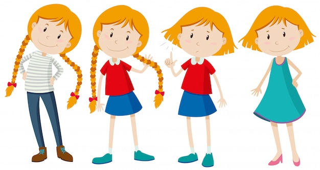 Petites Filles Aux Cheveux Longs Et Courts Vecteur gratuit