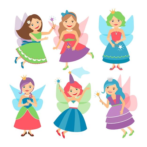 Petites filles de fées avec des ailes et des robes de bal Vecteur Premium