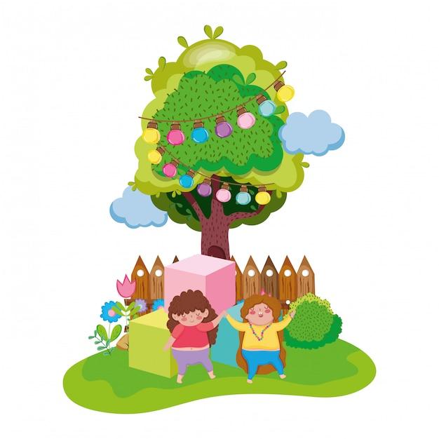 Petites filles potelées dans le paysage Vecteur Premium