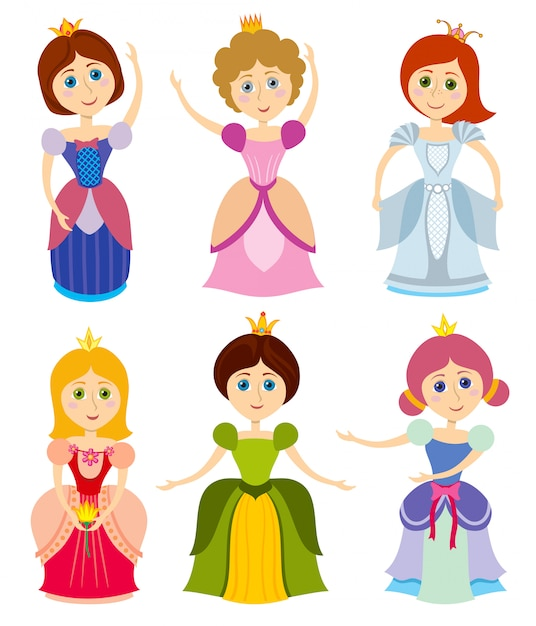 Petites princesses mignonnes Vecteur Premium