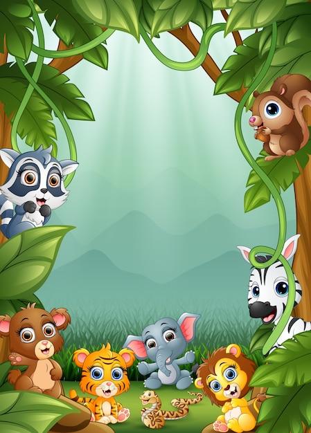 Les petits animaux et la forêt Vecteur Premium