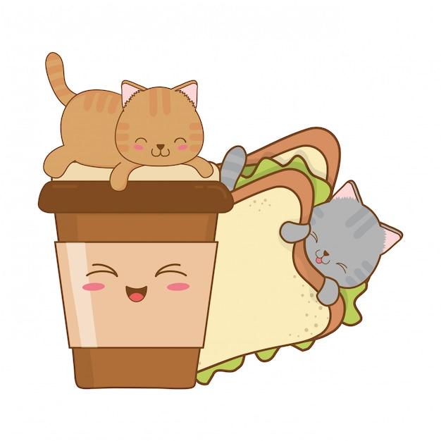 Petits chats mignons avec des caractères sandwich kawaii Vecteur Premium
