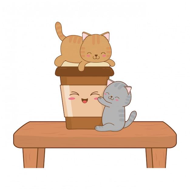 Petits chats mignons avec du café boivent des personnages kawaii Vecteur Premium