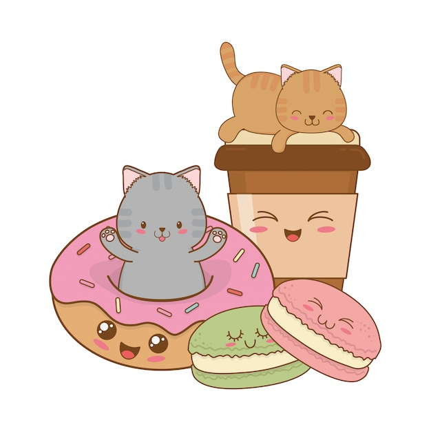 Petits chats mignons avec des personnages de kawaii beignets Vecteur Premium