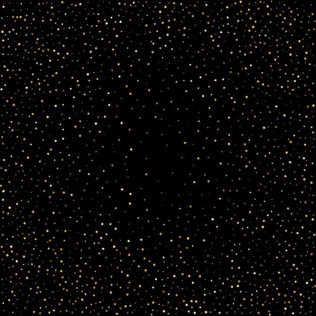Petits Confettis à Pois Dorés Sur Fond Noir Vecteur Premium