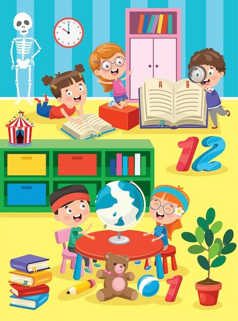 Petits Enfants étudient Et Jouent à La Classe Préscolaire Vecteur Premium