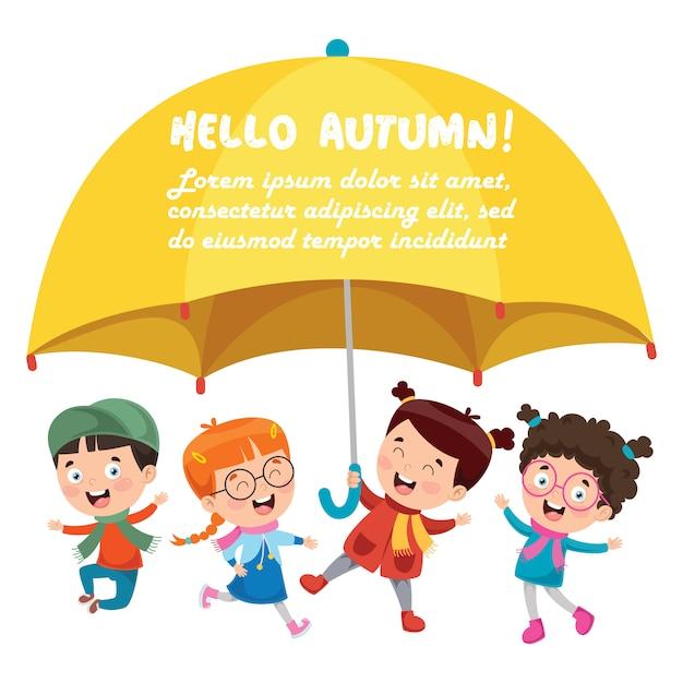 Petits enfants avec un grand parapluie jaune Vecteur Premium