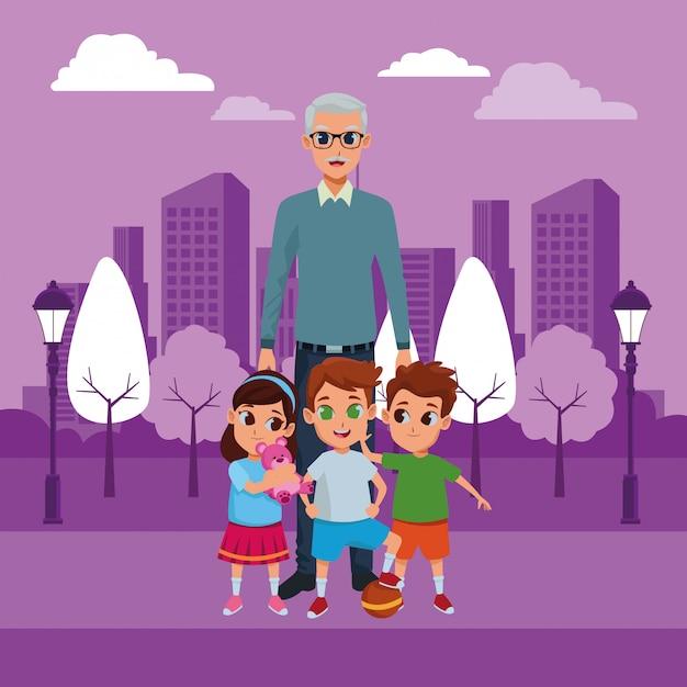 Petits-enfants et grand-père de la main Vecteur gratuit