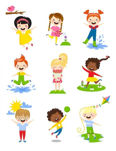 Petits enfants heureux au printemps jouant, arrosant des fleurs, sautant dans une flaque d'eau, etc. Vecteur Premium