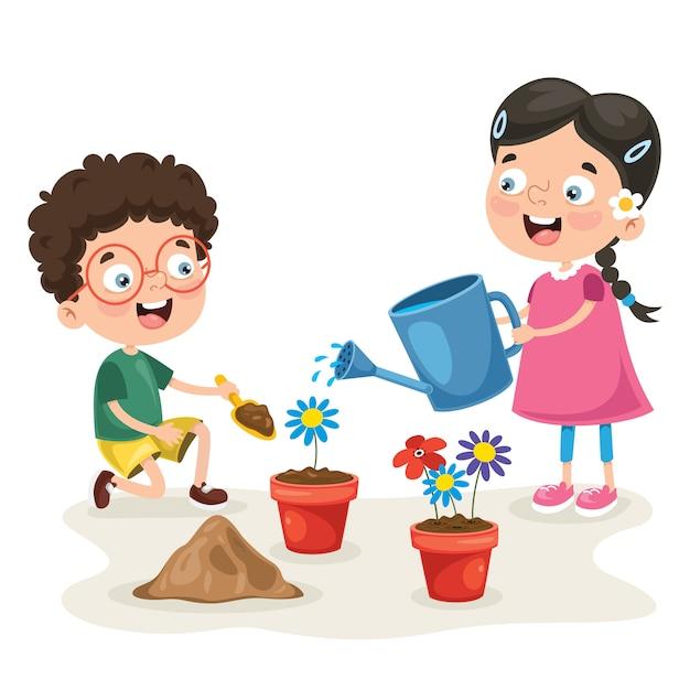Petits Enfants Jardinage Et Plantation Vecteur Premium