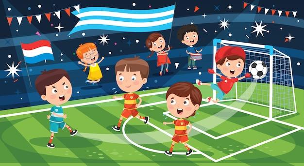 Petits Enfants Jouant Au Football En Plein Air Vecteur Premium