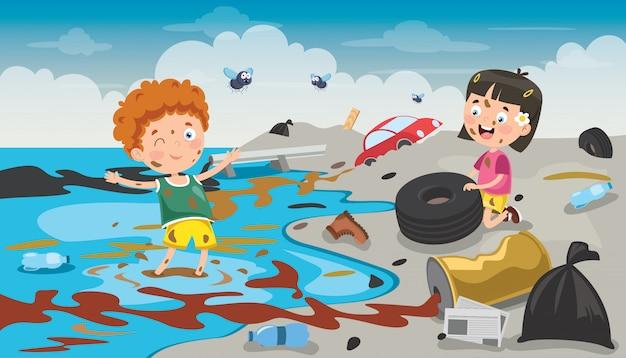 Petits enfants nettoyant la plage Vecteur Premium