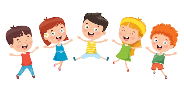 Petits enfants s'amusant ensemble Vecteur Premium